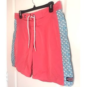 Vineyard Vines Whale Swim Trunks Shorts Pink Red